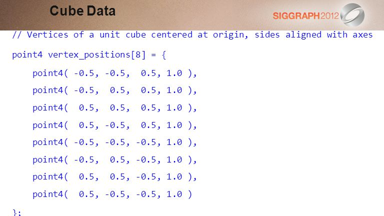 Cube Data // Vertices of a unit cube centered at origin, sides aligned with axes. point4 vertex_positions[8] = {